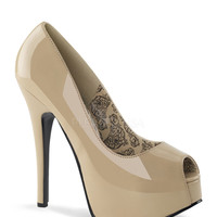 Bordello Teeze-22 Cream Patent Peep Toe Platforms
