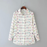 Face Print Long-Sleeve Collared Button Shirt