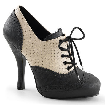 "Cutiepie 14 Lace-Up Spectator Oxford 4.5"" Heel Black & Cream"