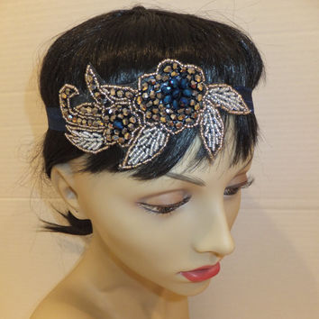 Flapper Style Headband, 20's Headpiece, Great Gatsby Headband, Flower Headband