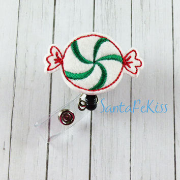 Feltie Badge Reel,, Christmas Candy Felt Badge Reel, retractable badge holder, badge clip, badge pull