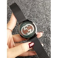 GUCCI Fashion Women Men Big Logo Quartz Watches Wrist Watch Black