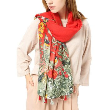 Women Plant Flowers Birds Printing Pastoral Scarf Casual Travel Shawl Long Scarves