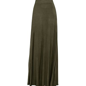Women's Army Green Maxi Skirt With Fringes