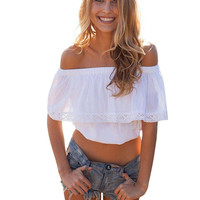 Off-the-shoulder Ruffled Crop Top