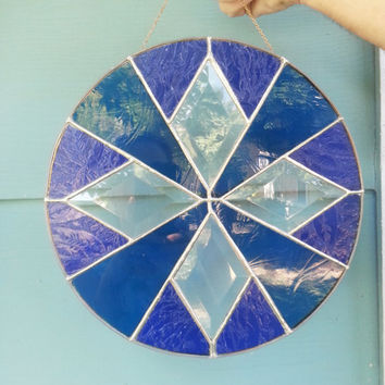 Round stained glass suncatcher,blue stained glass suncatcher,diamond shaped bevels,suncatcher,window decoration,window hanging,bevel glass