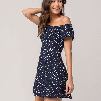 SOCIALITE Polka Dot Womens Off The Shoulder Fit N Flare Dress