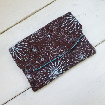 Fabric Wallet, women's wallet, card holder, wallet brown, velcro closure, hand sewn, ready to ship, floral wallet, women's accessory