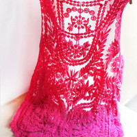 Rose Red Lace Tank Top [5008]