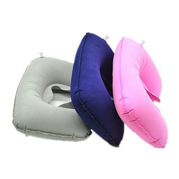 2018 New Rest Neck Travel Pillow Portable PVC Flocking Soft Head Neck Rest Support Cushion For Neck Body Sleeping Chin Head