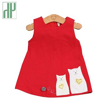 Baby girl dress Autumn Summer Infant Cat printing Dress Girl Sleeveless party 1 year girl baby birthday dress Baby Clothes