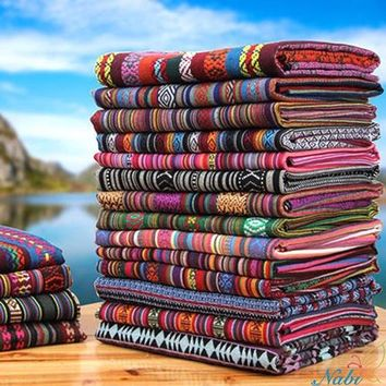 Nabi Floral African Cotton Linen vintage fabric DIY Handmade Textile Sewing Patchwork For Bags Dress Clothes