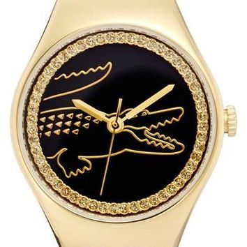 Women's Lacoste 'Valencia' Medium Logo Dial Watch, 30mm - Black/ Gold