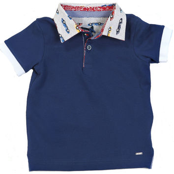 Fun & Fun - Baby Boys Polo Shirt With Race Cars Collar Detail, Navy