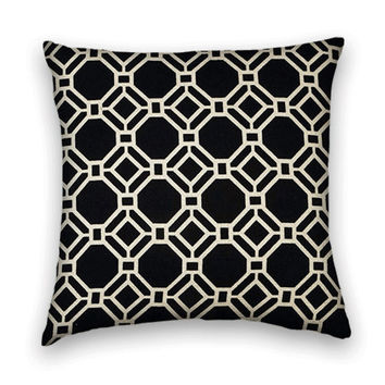 Black Decorative Pillow Cover--20 x 20--Geometric Slubby Cotton Throw Pillow Cover in Black and white.