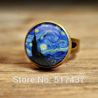 glass dome ring The Starry Night by Vincent Van Gogh 1889-Handmade Keepsake RING-Stars-Blue-Night Time - Evening Star