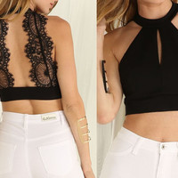 Fashion Black Bodycon Bra Bustier Crop Top Sexy Halter Backless Lace Tank