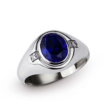 925 K Sterling Silver Men's Ring with 4.94 ct Sapphire and 0.04 ct Diamonds