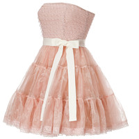 RED Valentino - Silk Strapless Dress with Tiered Tulle Skirt