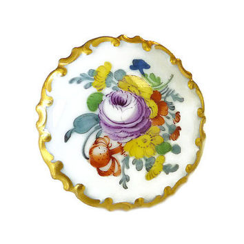 Rosenthale Brooch, Rosenthal Porcelain, Germany Germania, Hand Painted, Gold Plated, Floral, Vintage Jewelry