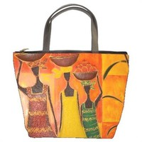 Colorful African Art Women Working Handmade Bucket Bag Handbag Leather Fabric