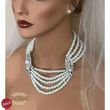 Multi Strand Pearl Necklace Statement Bridal Jewelry Set