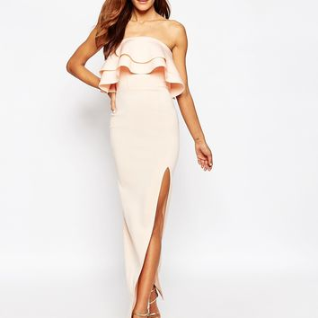 ASOS Premium Ruffle Bandeau Scuba Maxi Dress at asos.com