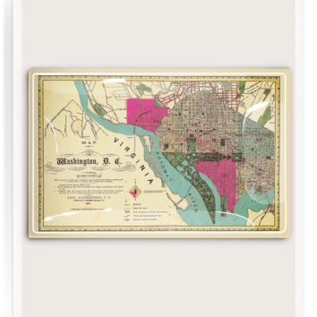 Washington D.C. Map Decoupage Glass Tray