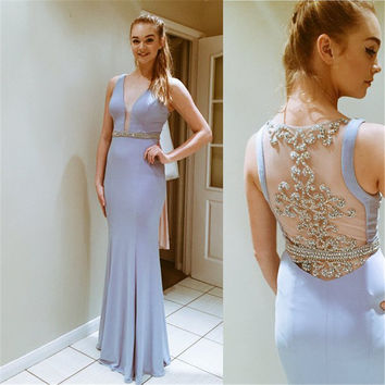 Don's Bridal Unique Crystal Gray Mermaid Dresses Sexy Sheer Back Beaded Sash Long Evening Party Dress Fashion Prom Gowns