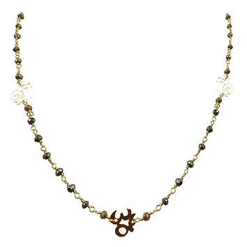 "CHG-197-PY-OM-18"" 18K Gold Overlay Necklace With Pyrite"