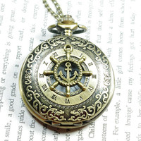 pirate steampunk rudder pocket watch locket necklace