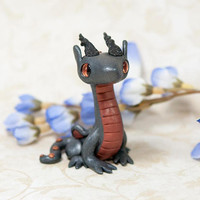 Gray Dragon Figurine, Dragon Sculpture, Dragon Figure, Polymer Clay Dragon, Metallic Dragon, Grey Dragon, Small Dragon, Cute Dragon