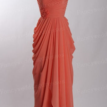 Open back long Prom Dress,Chiffon prom Dress,cheap Bridesmaid Dress,Strapless dresses for prom,Prom dresses with waist flower