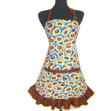Sunflower Apron for women , Yellow and Blue with Brown Ruffle , Retro Country Kitchen Decor