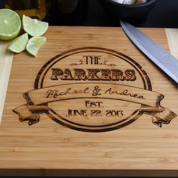 Personalized Vintage Scroll themed Cutting Board