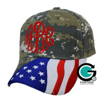 SALE! CUSTOM Monogram or Greek (Sorority and Fraternity) Greek Letter Flag Camo Hat