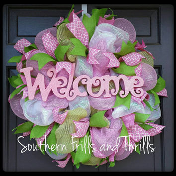 Spring Deco Mesh Wreath, Spring Wreath, Deco Mesh Wreath, Welcome Wreath, Wreath, Deco Mesh, Door Hanger