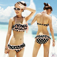 Sweet Girl Pink Halter Bikini Top Cute Dots Ruffles Bottom Shorts Swimwear 1G3