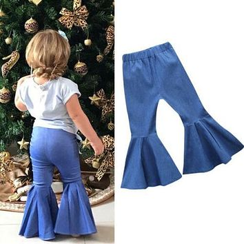 Toddler Infant Kids Baby Girls Boys Children Denim Clothes Jeans Flares Pants