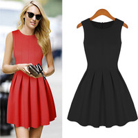 Sleeveless Pleated Mini Dress