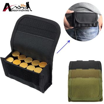 Molle Tactical 12 GA Magazine Pouch Airsoft Hutning 10 Shell Shotgun Ammo Pouch Portable Utility Gear Accessory Bag Waist Pouch