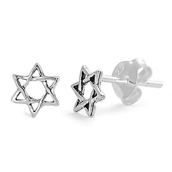 Star of David (jewish Star) Stud Earrings Sterling Silver - 6mm