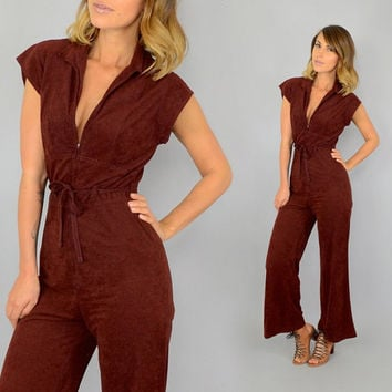 70's Chestnut TIE WAIST bohemian disco hippy Bell Bottom flared playsuit romper JUMPSUIT, extra small-small