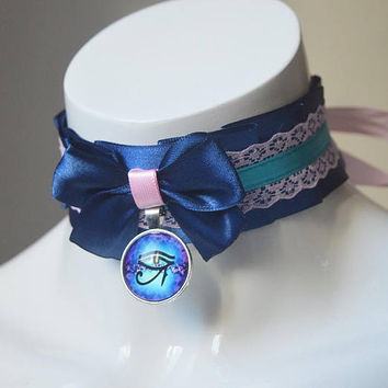 Witch choker - Eye of Horus - Blue and pastel pink collar - wiccan wicca ancient egypt sweet lolita ddlg cute kawaii necklace - Nekollars