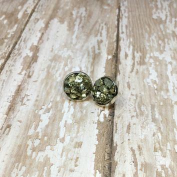 Crushed Raw Pyrite Stud Earrings in Silver Plated Settings