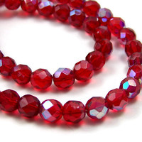 RED Czech Fire Polished Glass beads, 8mm faceted round, Aurora Borealis, Full strand (165G)