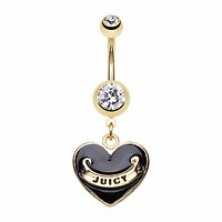 Gold Juicy Banner Heart Belly Button Ring