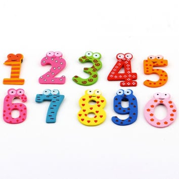 Magnet Education X mas Gift Set 10 Number Wooden Fridge Magnet Education Learn Cute Kid Baby Toy