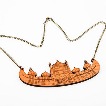Brighton Royal Pavilion, Laser Cut Wood Building Necklace, Architecture Cherry Wood Chain, Statement Necklace, Bib Necklace English Heritage