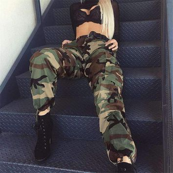 Women Army Green Loose Baggy Trousers Fashion Camouflage Printed Joggers Sweatpants Pants Hip Hop Dance Pants Plus Size